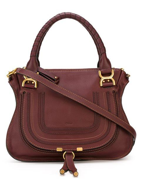 ChloÉ The Marcie Medium Textured-Leather Tote In Burgundy
