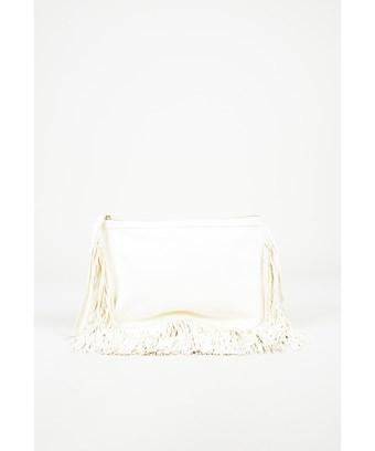 Pierre Hardy Pre-Owned  White Leather Fringe Trim Wristlet Clutch Bag