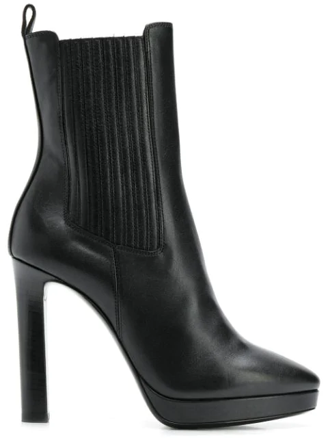 Saint Laurent Hall Chelsea Ankle Boots In Leather In 1000 -Nero
