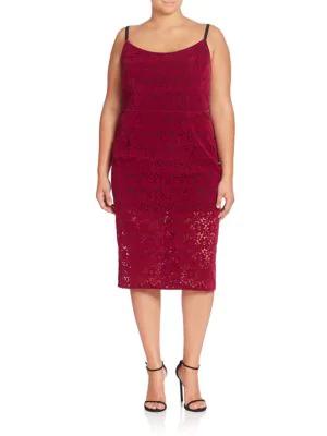 Abs By Allen Schwartz Plus Floral Lace Sheath Dress In Mulberry