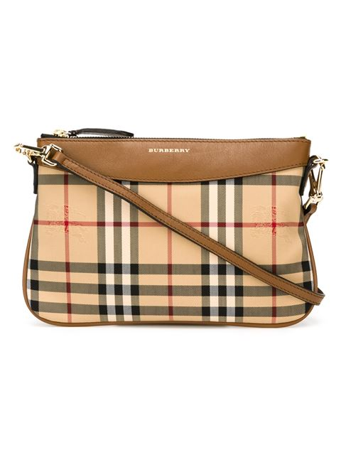 Burberry Peyton Horseferry Check Clutch Bag In Brown