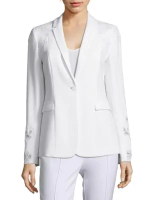 Elie Tahari Mauricia Lace AppliquÉ Crepe Blazer In Optic White