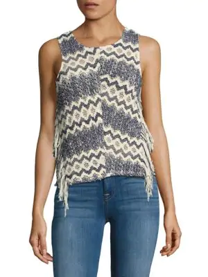 Ella Moss Fringed Open-Knit Top In Navy Multi