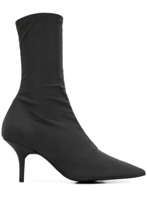Yeezy Kitten Heel High Ankle Boots In Grey