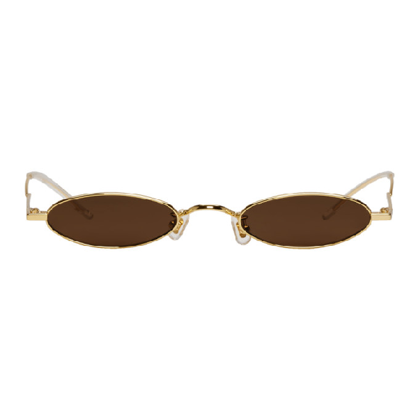 e2dc1fbc116 Gentle Monster Ssense Exclusive Gold And Brown Vector Sunglasses In  Gold Brwn