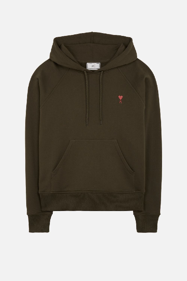 Ami Alexandre Mattiussi Hoodie With Red Ami De Coeur Embroidery In Green