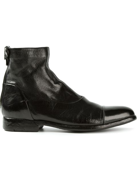 Alberto Fasciani Back Zip Biker Boots In Black