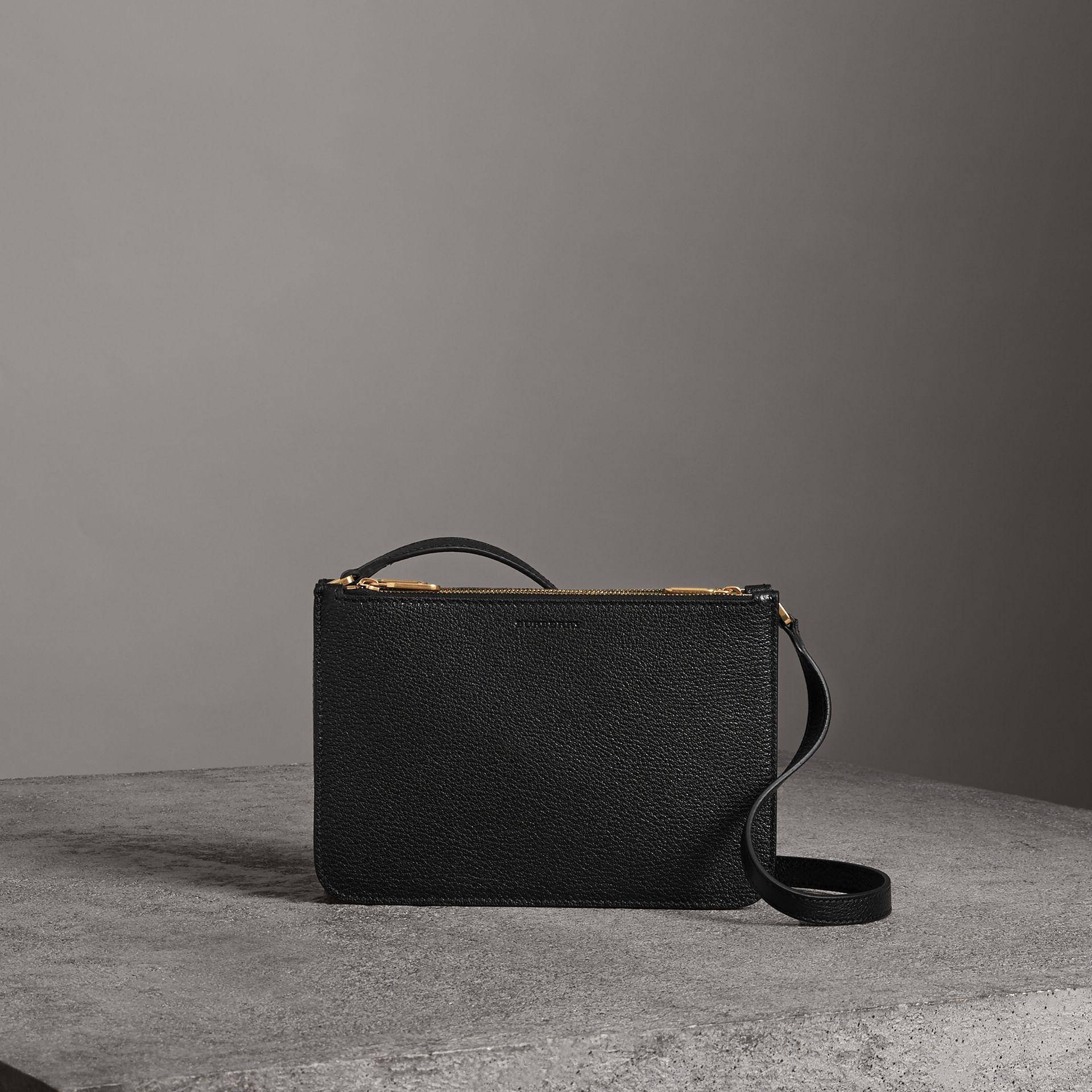 55bfc41d5b4f Burberry Triple Zip Grainy Leather Crossbody Bag In Black Gold ...