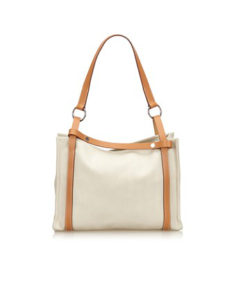 0ef073fa3 Hermes Pre-Owned: Cabalicol Canvas Tote Bag In White X Ivory X Brown ...