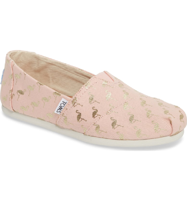 2a9575ebd14 Toms Alpargata Slip-On In Pale Pink Flamingos
