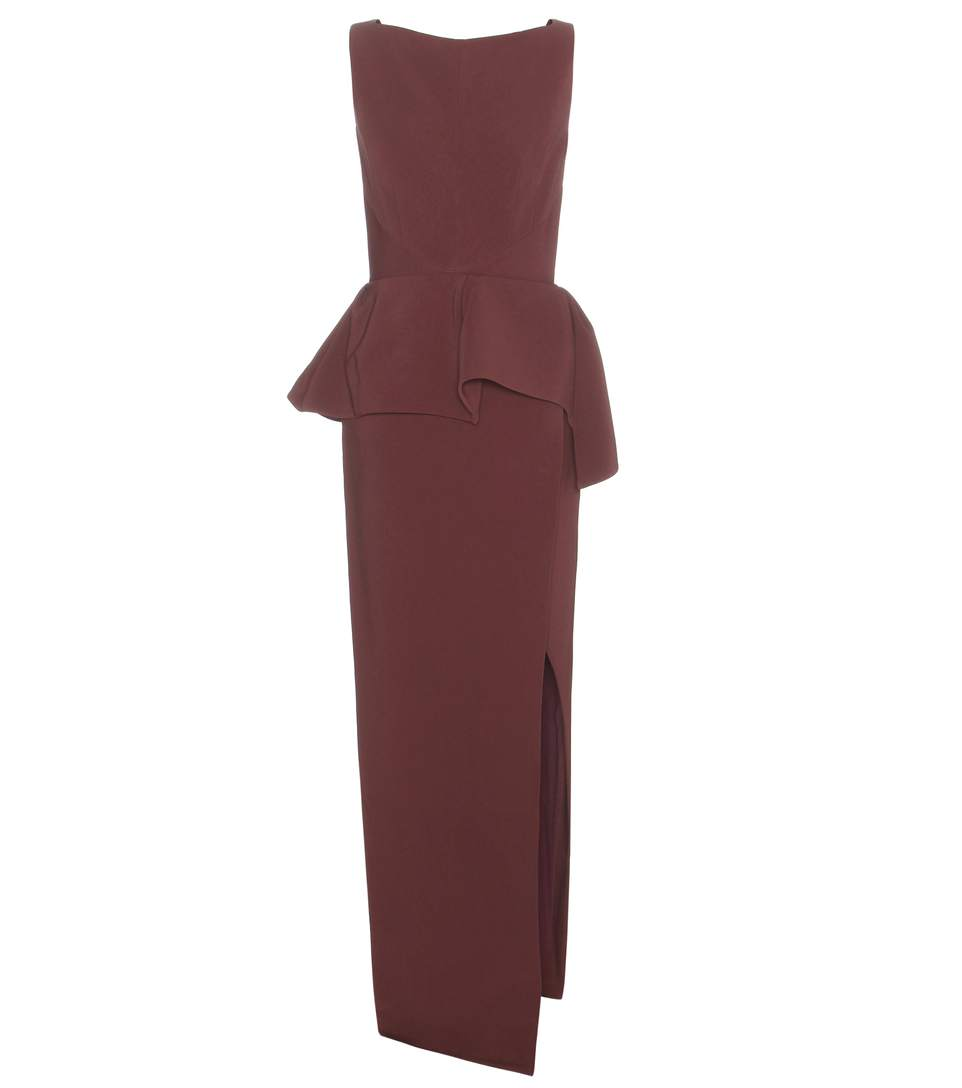 Balenciaga Stretch-crepe Peplum Gown In Lordeaux