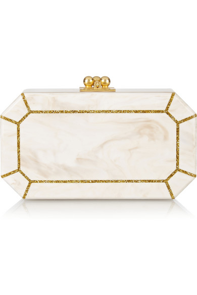 Edie Parker Fiona Faceted Acrylic Clutch Bag, Nude/Golden In White
