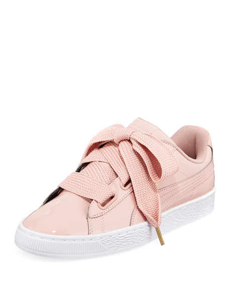 Puma Basket Heart Patent Leather Sneakers In Peach