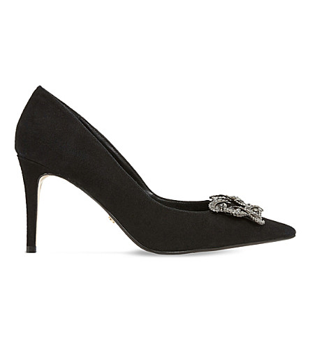 Dune Betti Brooch-detail Suede Courts In Black-suede