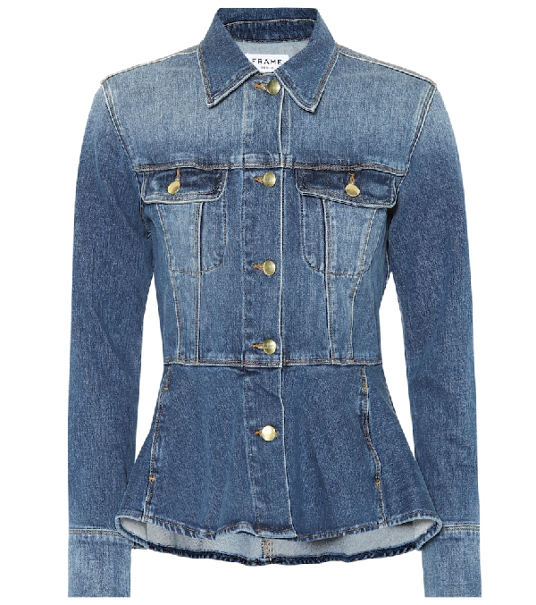 Frame Button-front Flounce Denim Jacket In Blue
