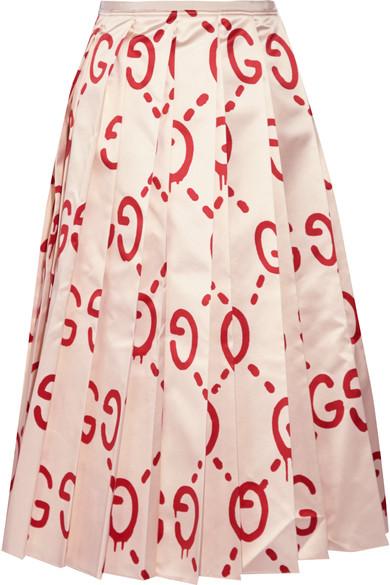 353408b8c1936c Gucci Pleated Printed Duchesse Silk-Satin Midi Skirt In Beige | ModeSens