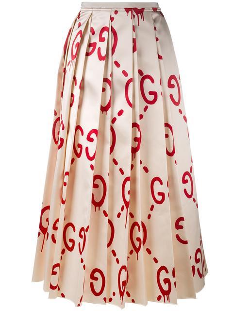 Gucci Pleated Printed Duchesse Silk-satin Midi Skirt In Ivory