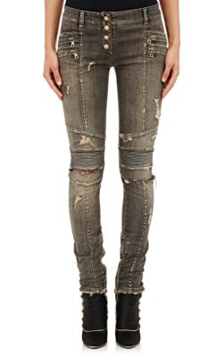 Balmain Distressed Skinny Moto Jeans In C4670-Grey