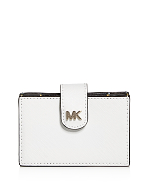 b3d78a43cfa3 Michael Michael Kors Michael Kors Money Pieces Embossed Leather Card Case  In Optic White/Gold