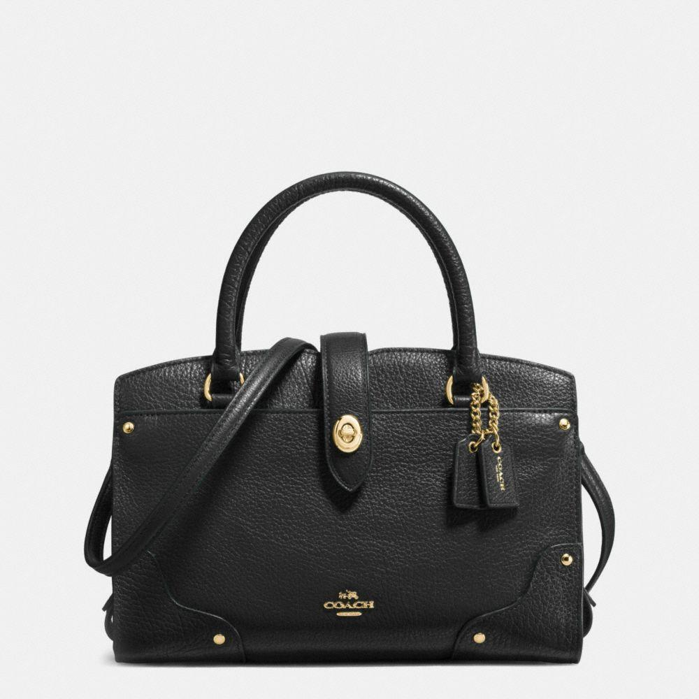 Coach Mercer 30 Grained Leather Satchel In Light Gold/black