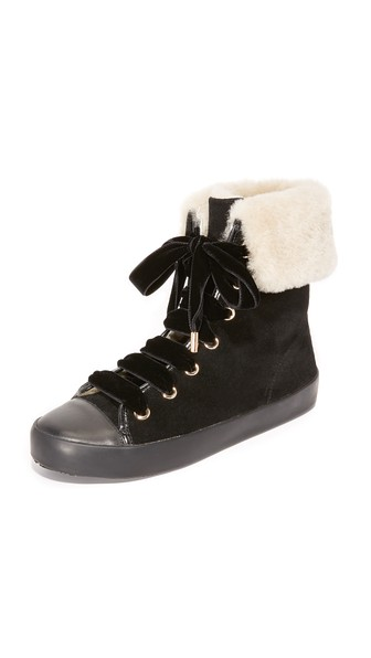 Alice And Olivia Ryan Shearling Cuff Sneakers In Black