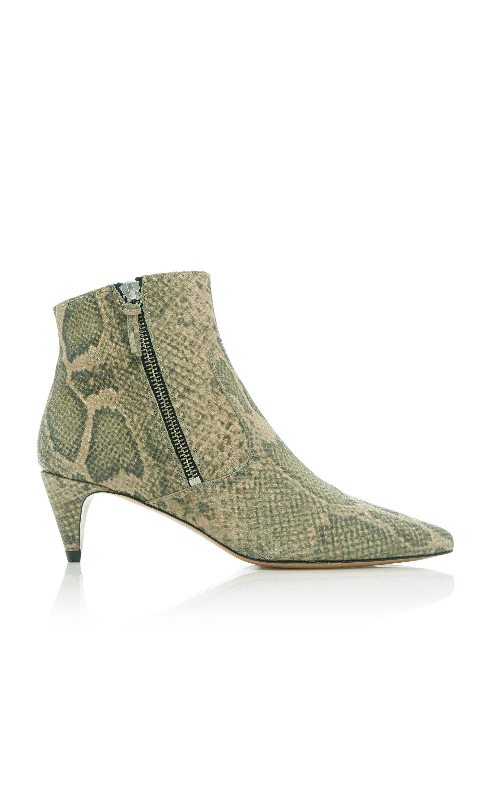 Isabel Marant Deby Snake-Effect Leather Ankle Boots In Python