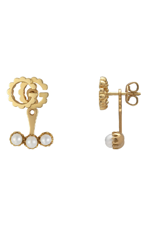 1e488ef791a Gucci Gg Running Single Stud Earring With Pearls In Yellow Gold ...