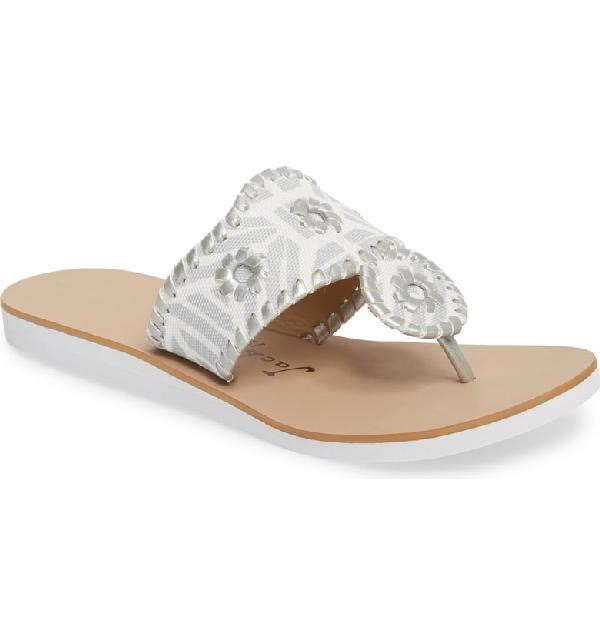 668a3f0b9b7 Jack Rogers Women s Captiva Demi Wedge Thong Sandals In Silver Fabric