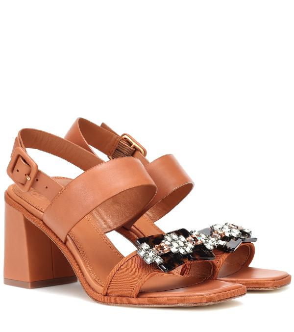 456ef7239 Tory Burch Delaney Embellished Double Strap Sandal In Brown