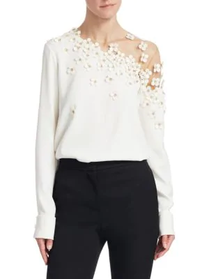 9ce1c0ccb016e OSCAR DE LA RENTA. Illusion-Neck Long-Sleeve Floral-Applique Silk Blouse in  White