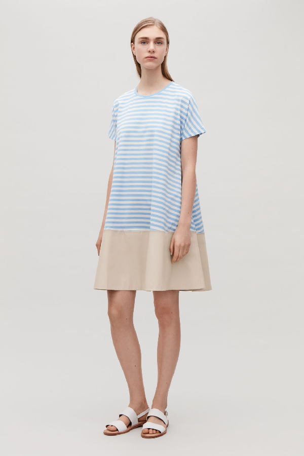 204c6c2e0a85 Cos Contrast-Panelled Jersey Dress In Blue | ModeSens
