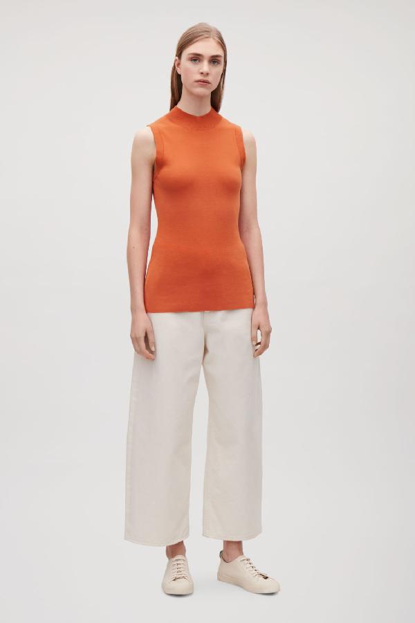 Cos Cotton-Silk Vest Top In Orange
