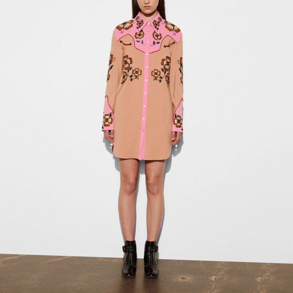Coach Western Crepe Dress W/ Floral Embroidery In : Pink