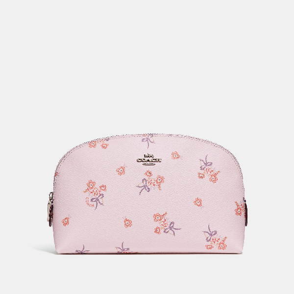 7f1b5ed835afd COACH. Coach Cosmetic Case 22 With Floral Bow Print - Women's in Ice Pink  Floral Bow/Silver