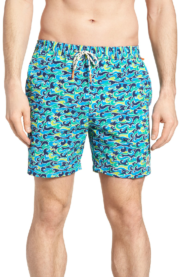 3551371652 Psycho Bunny Wave Print Swim Trunks In Navy | ModeSens