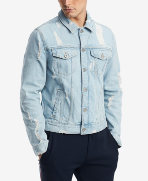 adfb9c12657 Tommy Hilfiger Men's Ripped Denim Jacket, Created For Macy's In Light Wash