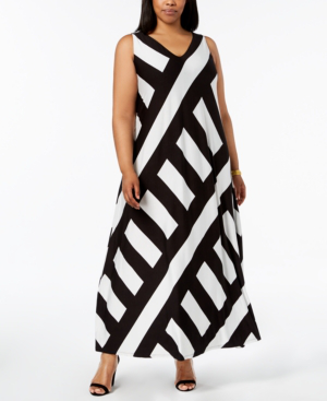 Patch-Striped Sleeveless Maxi Dress, Plus Size in Black/White
