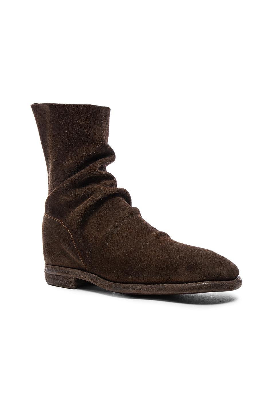 Guidi Calf Suede Boots In Brown