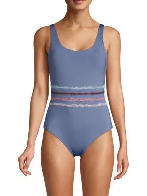 4aced8c56e66e Dolce Vita One-Piece Multicolored Stitched Swimsuit In Butter Cream ...