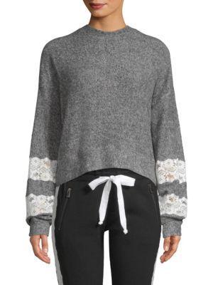 The Kooples Fleece Lace-Trim Sweatshirt In Grey