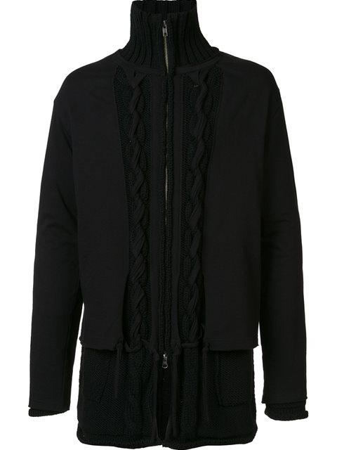 Yohji Yamamoto Layered Zip Cardigan In Black