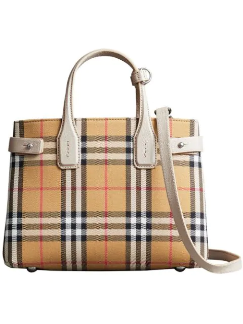 Burberry Brown Check Banner Small Vintage And Leather Tote Bag In Limestone