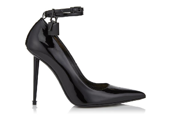 Tom Ford Lacquered Patent Padlock Pump In Black