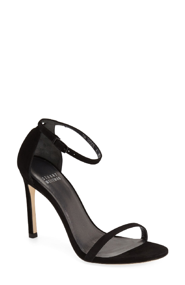 ef8a32082e86 Stuart Weitzman Nudistsong Suede Ankle-Wrap Sandals In Black Suede ...
