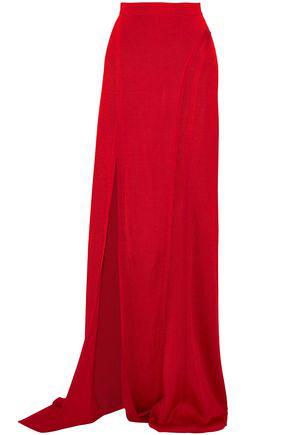 Balmain Woman Split-Front Satin-Faille Wide-Leg Pants Red