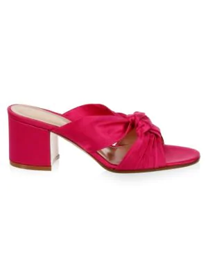Gianvito Rossi Twisted Knot Silk Slides In Fuchsia