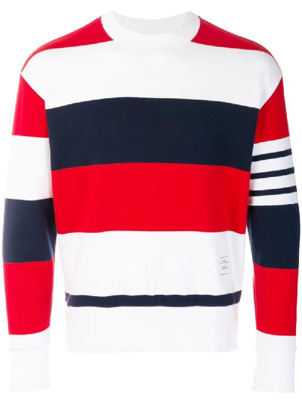 Thom Browne Dropped-Shoulder Cotton Crew-Neck Sweatshirt In Multicolour