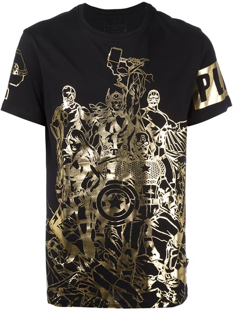 Philipp Plein 'power Team' T-shirt In Black Gold