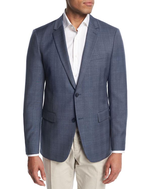 7f2f12c9076 Theory Wellar Camley Windowpane Wool Suit Jacket In Blue   ModeSens