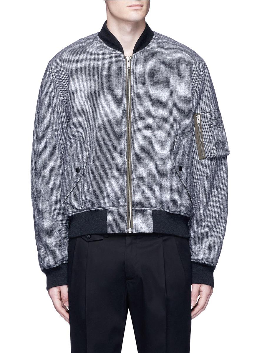 b8d8eb350 Haider Ackermann Fleece Wool Houndstooth Knit Bomber Jacket In White Black